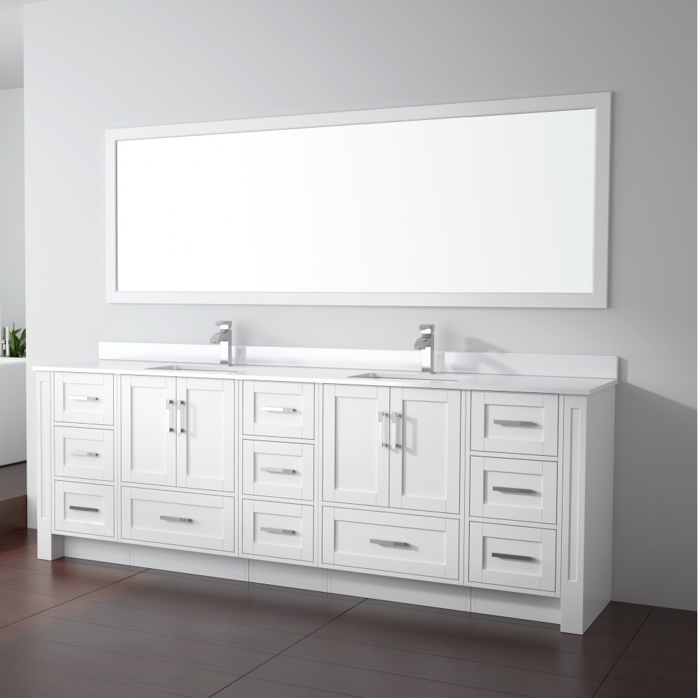 "96 Inch Bathroom Vanity Home Depot: Flow Floor Mount 96"" Double Sink Vanity"