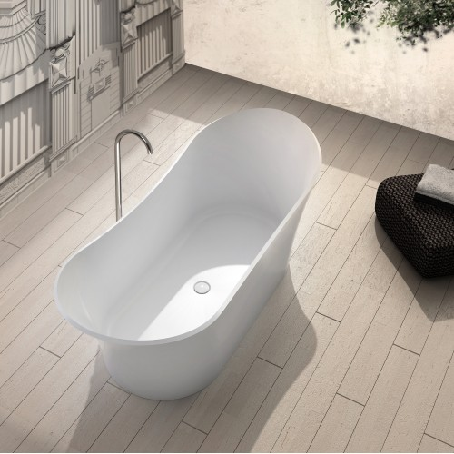 """Harp Freestanding Solid Surface Stone 69"""" Tub"""