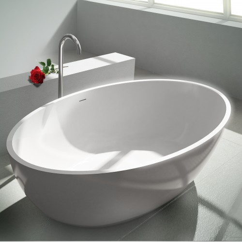 """Rondo Freestanding Solid Surface Stone 70"""" Tub"""