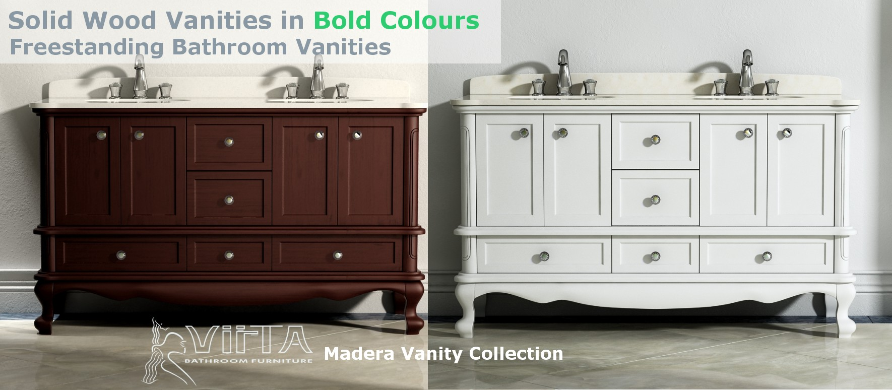 Solid Wood Vanities in Bold Colours