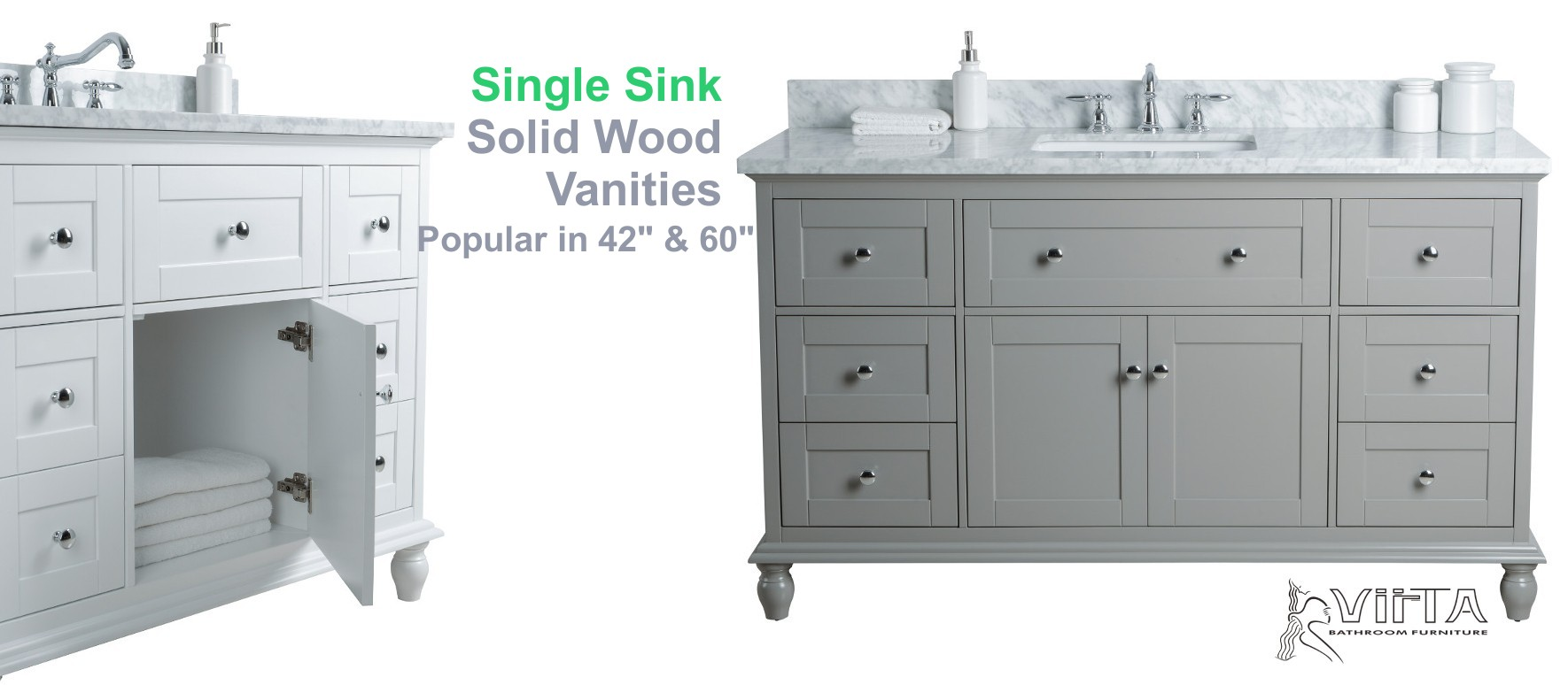 "Single Sink Solid Wood Vanities in 42"" and 60"""