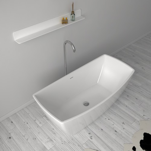 """Venice Stone Freestanding Solid Surface 63"""" Tub"""