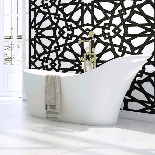 """Soprano Freestanding Solid Surface Stone 66"""" Tub"""