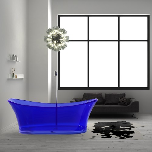 """Blue Freestanding Solid Surface Glass 68"""" Tub"""