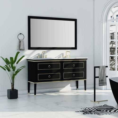 """Blackstar Floor Mount 60"""" Double Sink Vanity"""
