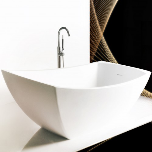 """Minuet Freestanding Solid Surface Stone 60"""" Tub"""